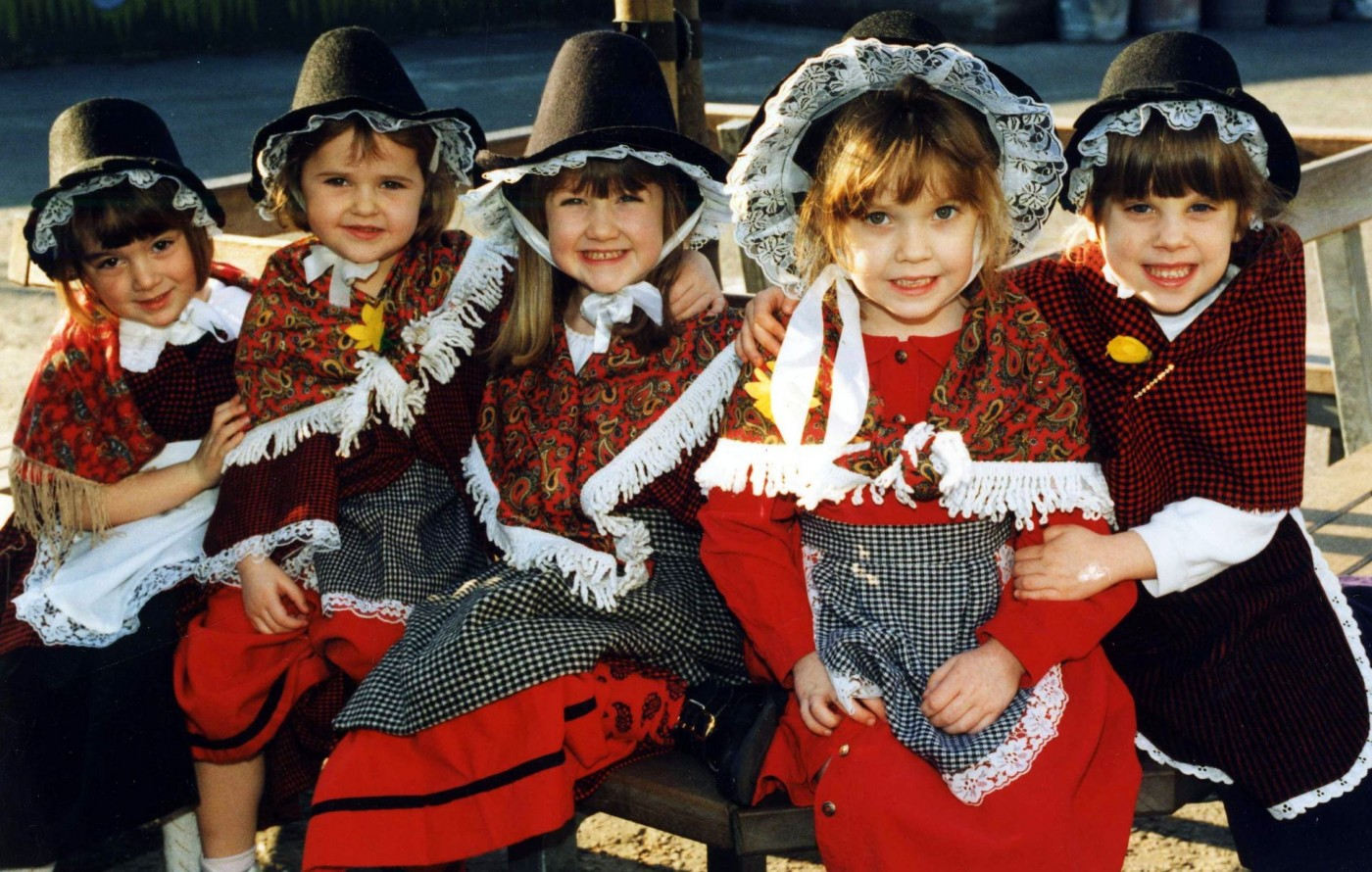 1.Five young girls in traditional Welsh dress at Ysgol Gymraeg Treganna, Cardiff in 1998.<br /> Image from: Wales online, 25 Feb 2014, 26 fantastic pictures that show St David's Day celebrations in Wales through the years. Available at: https://www.walesonline.co.uk/incoming/gallery/26-fantastic-pictures-show-st-6745527<br />