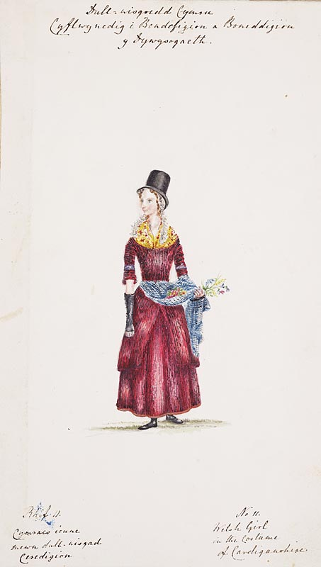 2:Short title Lady Llanover's sketches: Girl in costume from Cardiganshire. No 11 From the album of watercolours of Welsh costume, commissioned by Lady Llanover, painted by A. Cadwallader. Image courtesy of National Library of Wales. NLW DV 299.