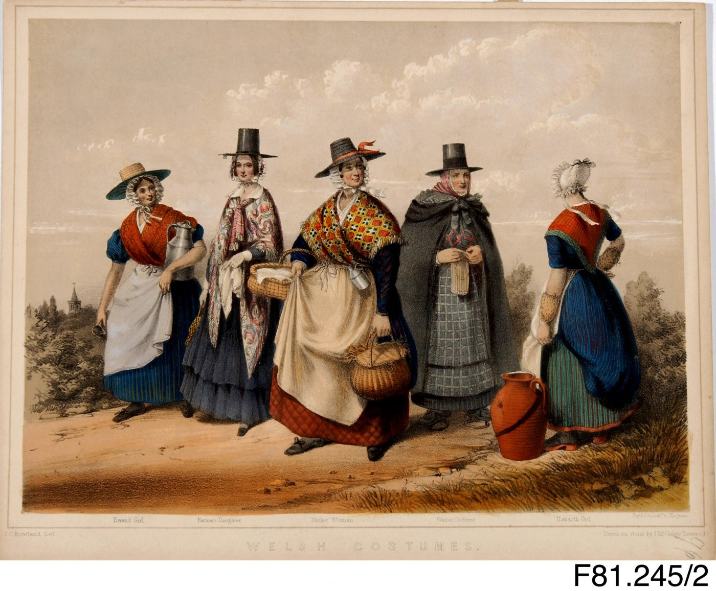 3:Welsh Costume Illustration from 1848. Artist: Rowland, John Cambrian. Image courtesy of National Museum Wales. F81.245.2
