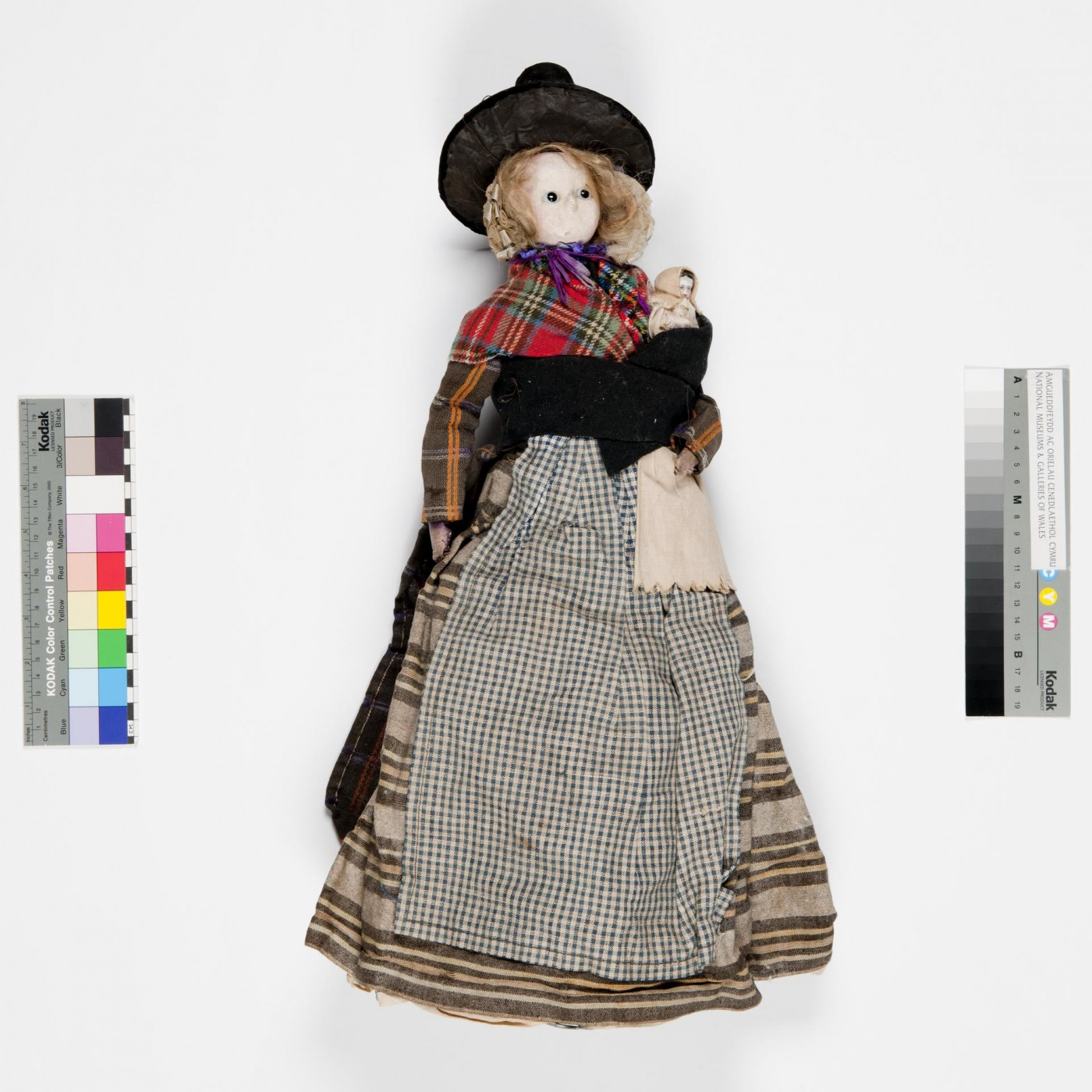6:Doll in Welsh National costume, you can see the baby tucked into the whittle. Image courtesy of National Museum Wales item number 30.316