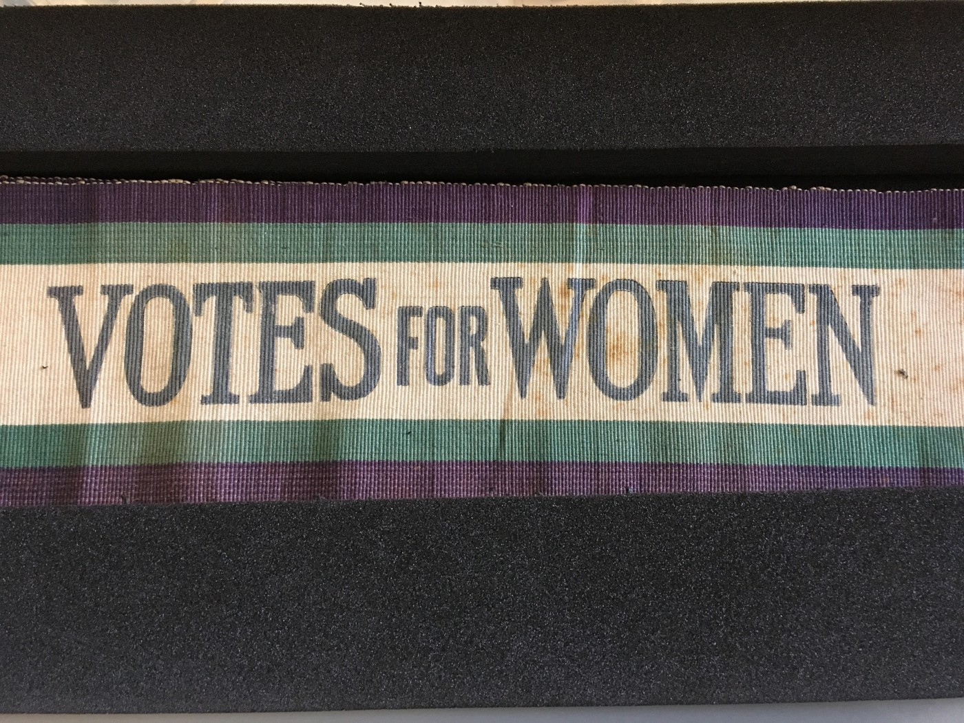 'Votes for Women's' sash from Brighton Museum & Art Gallery collections, taken by Author, 7th February 2018.