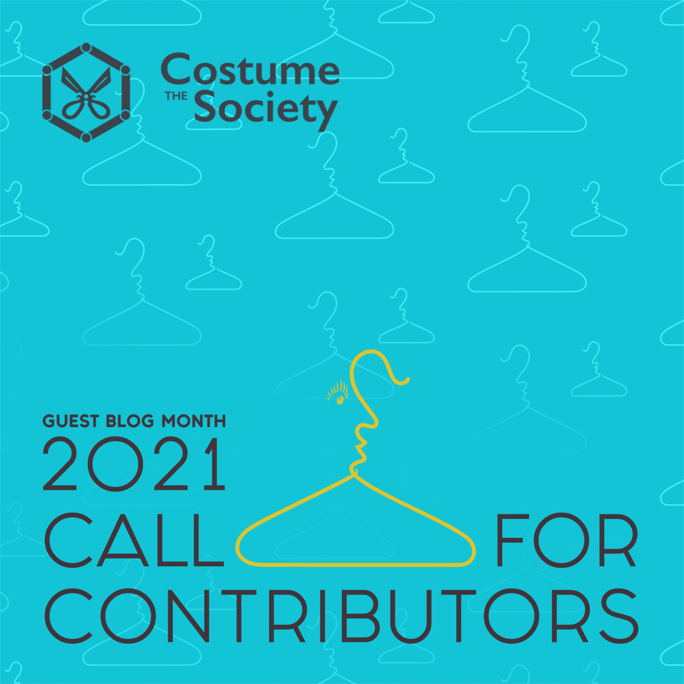 Call for Contributors: The Costume Society's Guest Blog Month, 2021. <br /> Image created by Elaine Manley.