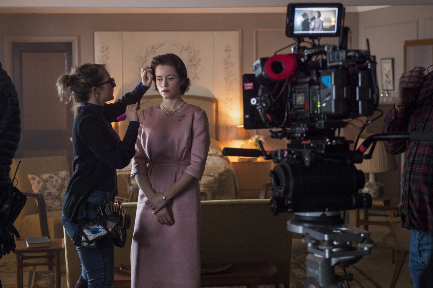 Finishing Touches.  Actress Clare Foy prepares for her role as Elizabeth II.
