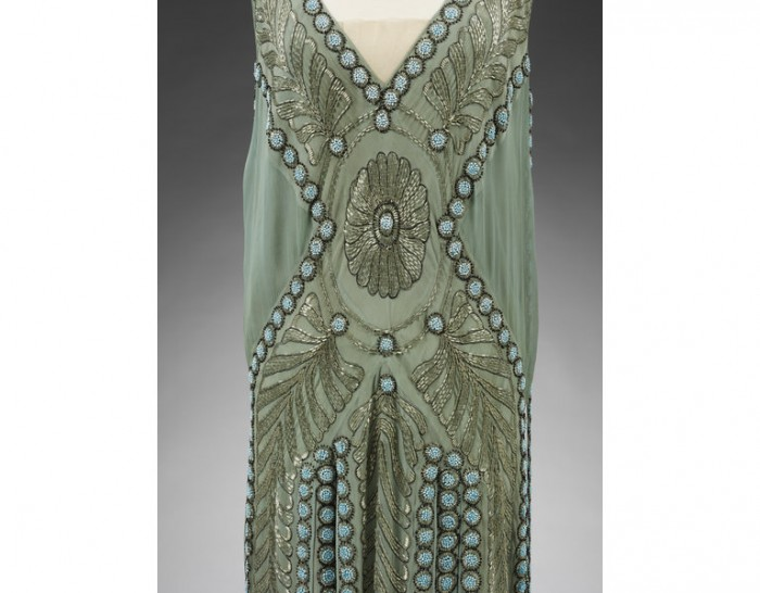 Figure 4: Detail of a Jeanne Lanvin silk and chiffon embroidered evening dress, 1925.Victoria & Albert Museum.T.151&A-1967.